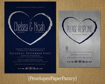 Navy Wedding Invitations,Navy Blue,Silver,Shimmery,Modern,Heart Design,Customize,Printed Invitations,Invitation Set,Optional RSVP Card