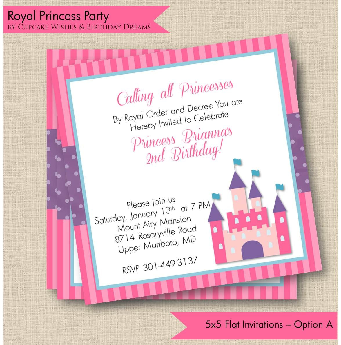 Royal Princess Printable Party Invitations