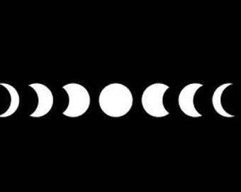 Phases of the Moon Decal, Moon Decal, Moon Sticker, Moon Phase Decal, Lunar Cycle Decal, Lunar Phase Sticker, Vinyl Moon Phase Decal