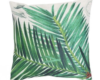 Cute linen pillow cover with Cycads Leaf and tropical print