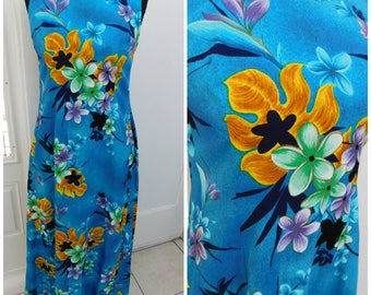 """Vintage Tropican Hawaii Tiki Aloha Maxi Dress Muumuu Hawaiian Maxi Dress 34"""" Chest"""