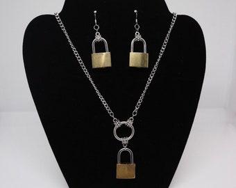 Lock It Necklace & Earrings
