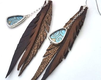 Leather Feather Earrings in Mermaid Silk Glass Shi Charm