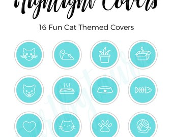 Instagram Highlight Covers | Cat Icons | Cat Highlight Covers | Instagram Stories | Teal Highlight Covers