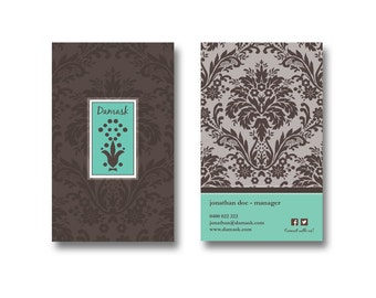 BUSINESS CARD DESIGN - Customized with Your Details! - Pre-Made Design  - Damask - BCD08