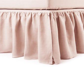 Linen dust ruffle Twin, 16 colors, Dusty rose linen bed skirt Twin, Custom bedskirts, Light pink Bedskirt Twin, Toddler bedskirt, Bedding