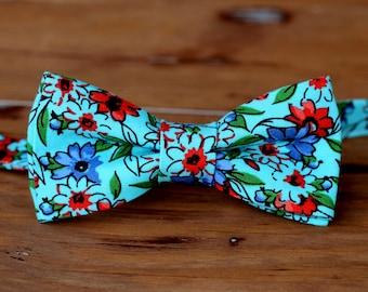 Boys Blue Floral Bow Tie, boy's cotton bow tie, spring wedding bow tie, summer wedding bowtie, toddler tie, childs bow tie, boys bow ties