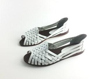 White sandal 65 wedge white shoes leather woven open toe huarache shoes peep toe vintage sandal, boho bohemian casual comfort women size 65