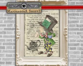 Alice in Wonderland Mad Hatter Tea Party instant download framing printable digital collage sheet  clip art card making decoupage