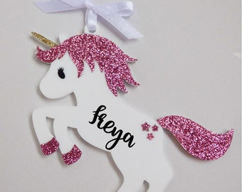 Personalised unicorn glitter acrylic perspex hanging bauble decoration  mid pink personalized ornament