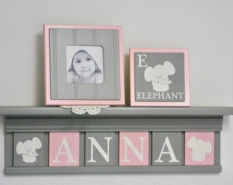 Elephant Nursery Decor   Personalized Name Shelves   Custom Grey Shelf with Light Pink Gray Wooden Letter Plaques