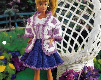 Granny Square Ensemble Annies Fashion Doll Crochet Pattern Club FCC14-02