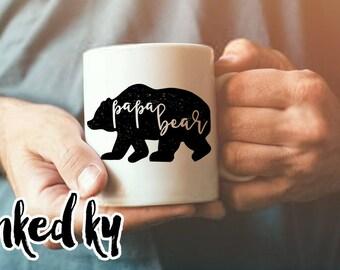11 oz, 15 oz - Papa Bear Mug, gifts for him, papa bear, gift for dad, bear, birthday, christmas, gift friend, gift for guy, father, man mug