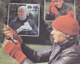 PDF vintage knitting pattern men's hat balaclava fingerless gloves pdf INSTANT download pattern only pdf