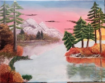Sunset Winter Maintain Lake Canvas Painting