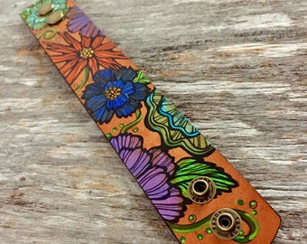 Colorful Leather Bracelet Colorful Flower Boho Leather Cuff Bracelet, Leather Jewelry, Leather Cuff, Painted Leather Bracelet, Floral Cuff