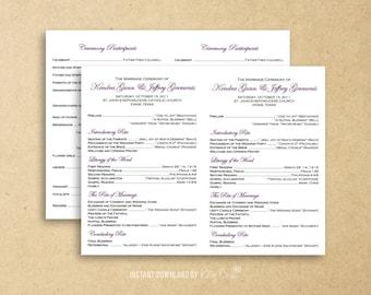 Flat Catholic Program Template | Wedding | Instant Download Digital File