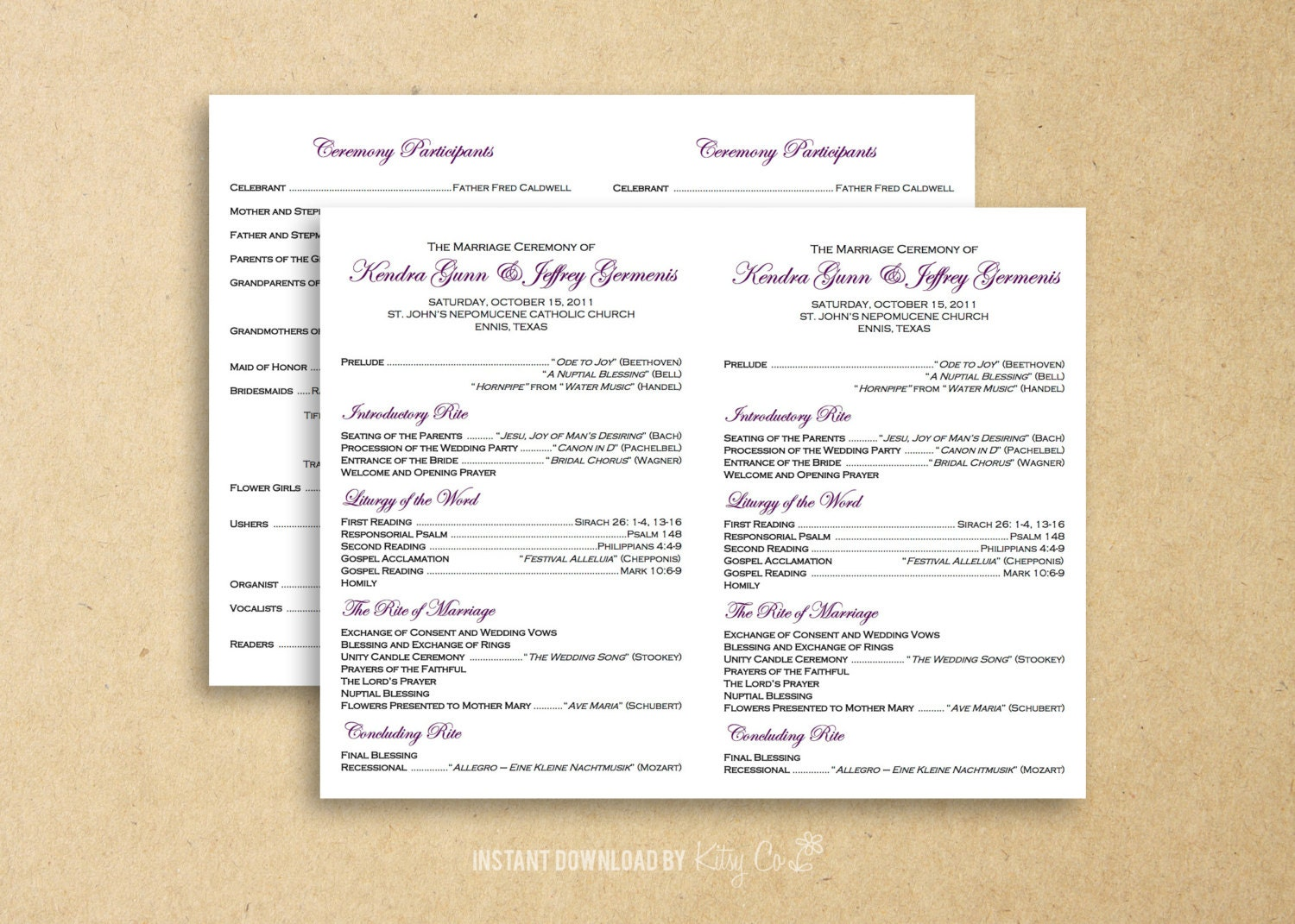 Flat Catholic Program Template Wedding Instant Download