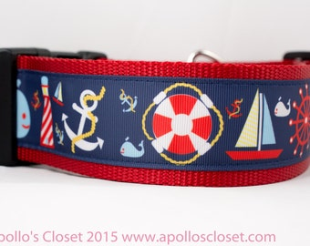 "Nautical Whale Dog Collar - 2"" inch wide - Nautical dog collar - large dog collar - Lighthouse dog collar - Summer dog collar - Thick dog"