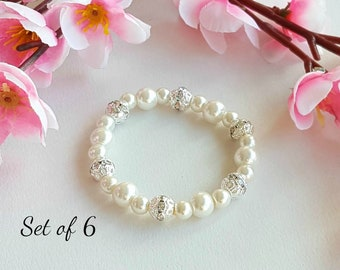 Set of 6 bridesmaid pearl bracelet, flower girl bracelet, bridesmaid gift, flower girl gift, wedding jewelry, wedding event