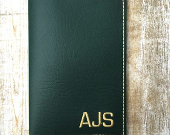 Personalized Gift Monogram passport cover Faux leather travel accessories wallet men masculine groomsman gift him wedding wanderlust
