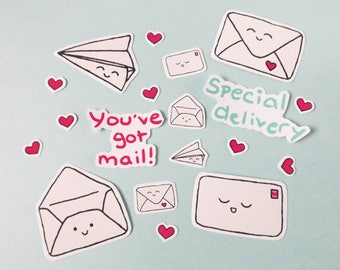 You've Got Mail Vinyl Sticker Pack, Set of 19, Happy Mail Stickers, Happy Post, Planner Accessories, Planner Stickers, Snail Mail, Kawaii