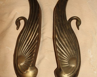 Pair of Tall Brass Art Deco Swan Bookends or matching statues/decor