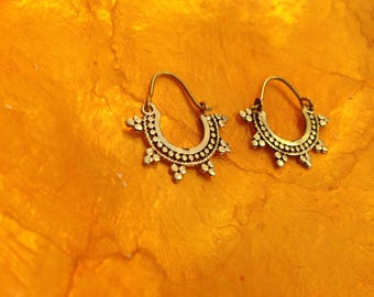 Small tribal hoops earrings