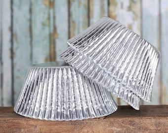 Jumbo Silver Foil Cupcake Liners, Jumbo Silver Cupcake Wrappers, Texas Size Baking Cups, Jumbo Silver Baking Cups, Silver Cupcake Wrappers