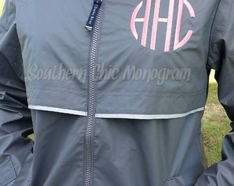 Preppy Charles River Women's New Englander Monogrammed Rain Jacket New Grey Sorority Greek Preppy Plus Size