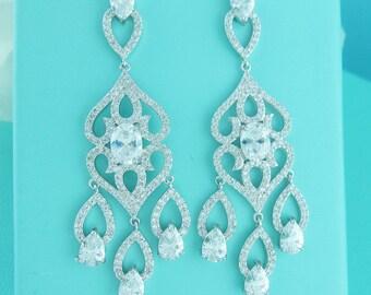 Chandelier earrings, cubic zirconia earrings, wedding jewelry, bridal jewelry, wedding earrings, dangle bridal earring 235937084