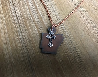 Arkansas Rusted Metal Necklace | Silver Cross Charm | Antique Copper Chain