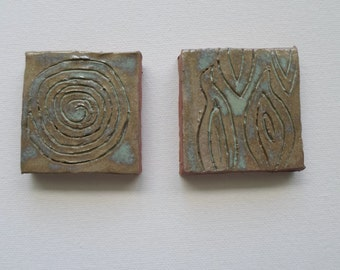 Small Glazed Clay Tiles Set of Two Primitive Style OOAK  Mosaic Tiles Ready to Ship