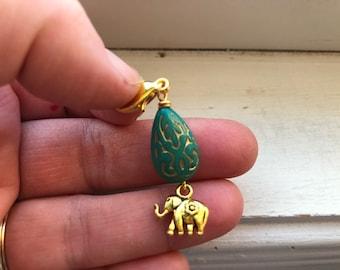 Elephant zipper pull _ Elephant Purse Dangle