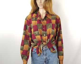 Vintage Silky Oversized Long Sleeves Women's Shirt// Size  14 XL