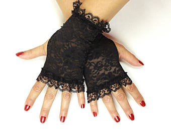 Black Lace Gloves - choice or 2 lengths - Black Stretch Lace Fingerless Gloves - Short Black Lace Fingerless Gloves - Goth Gloves