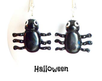 Halloween spiders in polymer clay earrings