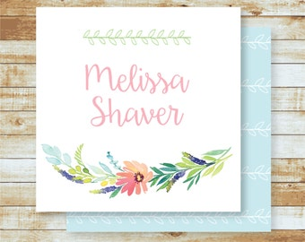 Personalized Calling Cards / Gift Tags / Watercolor Floral