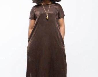 Long Inscribed Leaf Dress