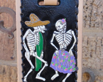 Luggage Tag with Dancing Skeletons