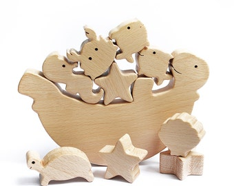 Sea Turtle Balance Toy Wooden toy Sea Animals Educational toys for toddlers Wood gifts toddler Nursery decor Christmas gift for toddlers