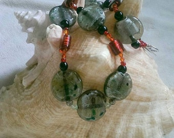 SALE Gray and Speckled Lampwork Necklace