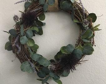 Purple Floral Spring Wreath