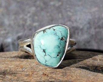 Spiderweb Turquoise Ring - Blue Turquoise Ring - Spiderweb Turquoise - Sterling Silver - Southwestern Ring - Natural Stone - Size 7 Ring