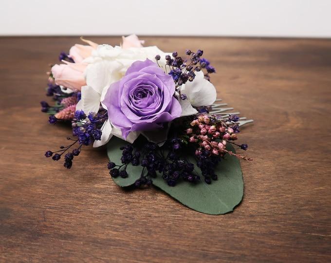White blush pink purple hair comb romantic style Preserved real flowers Bridal hairpiece boho wedding eucalyptus greenery rose hydrangea