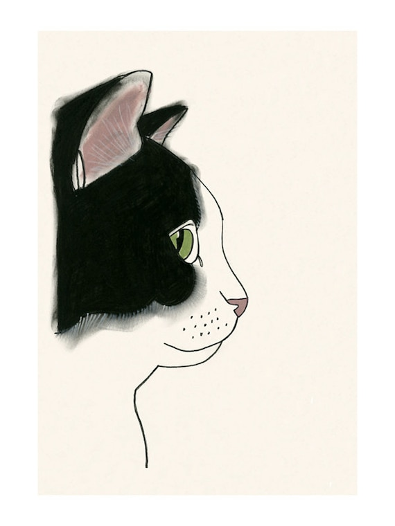 Cat art print black and white cat print 4 x 6