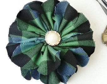 Tartan Brooch, Made in Scotland, Scottish accessories, McKay ancient,plaid,green,blue,check,