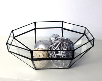 Modern Gometric Clear Glass Bowl - Handmade Stained Glass - Home Decor - Home Accents - Terrarium