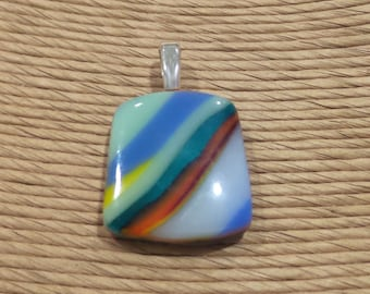 Colorful Fused Glass Pendant, Blue, Teal, Orange, Mint Green Striped Necklace, Fused Glass Jewelry - Ethel - 4650 -4