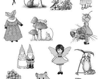 Printable Grayscale Coloring Book for All Ages, 13 OOAK Drawings, Hand Drawn Art, Simpler Drawings, Tips For Using Color Pencils, Download